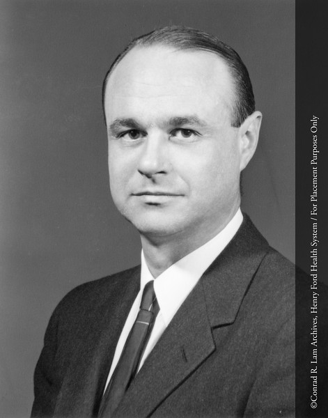Dr. Jack Guyton of the Department of Ophthalmology, c.1960. From the Conrad R. Lam Collection, Henry Ford Health System. ID=05-010