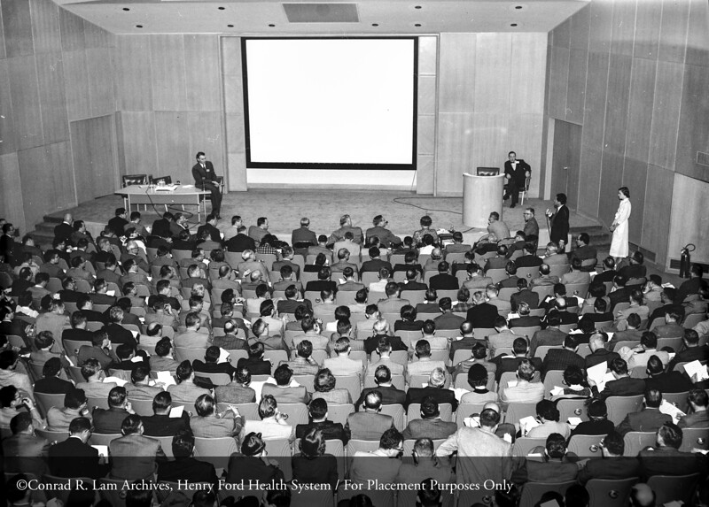 Enzyme Symposium in the Buerki Auditorium at Henry Ford Hospital, November 1, 1955. From the Conrad R. Lam Collection, Henry Ford Health System. ID=05-035