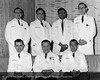 Dr. D. Emerick Szilagyi and the Vascular Surgery staff, Joseph P. Eliiott and Roger Smith, Drs. W. Sherren, A. Gonzalez, S. Saksema and J. Hageman, October 25, 1968. From the Conrad R. Lam Collection, Henry Ford Health System. ID=05-002