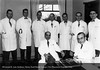 The Henry Ford Hospital Cardio-Respiratory Division staff in June 1951. Drs. Ellet Drake, Ralph Denham, F.A. Olash, Richard Gripe, J.A. Reeder, G. Morrice, Jr. and John Keyes. Seated: Drs. Ben E. Goodrich and F. Janney Smith. From the Conrad R. Lam Collection, Henry Ford Health System. ID=05-032