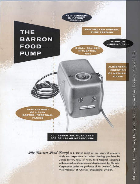 Barron Food Pump brochure. From the Conrad R. Lam Collection, Henry Ford Health System. ID=05-043