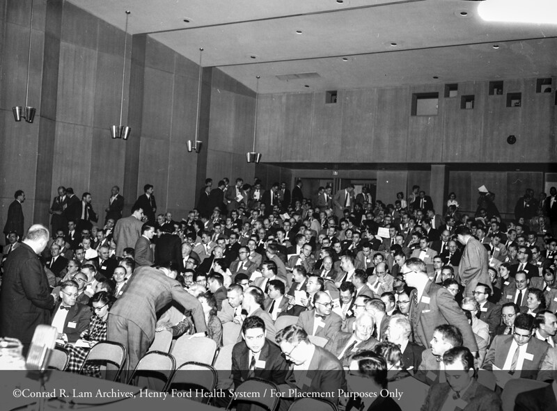 Enzyme Symposium in the Buerki Auditorium at Henry Ford Hospital, November 1, 1955. From the Conrad R. Lam Collection, Henry Ford Health System. ID=05-036