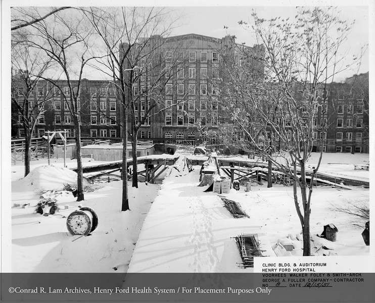 Construction of the hospital Clinic building, February 15, 1951. From the Conrad R. Lam Collection, Henry Ford Health System. ID=05-045
