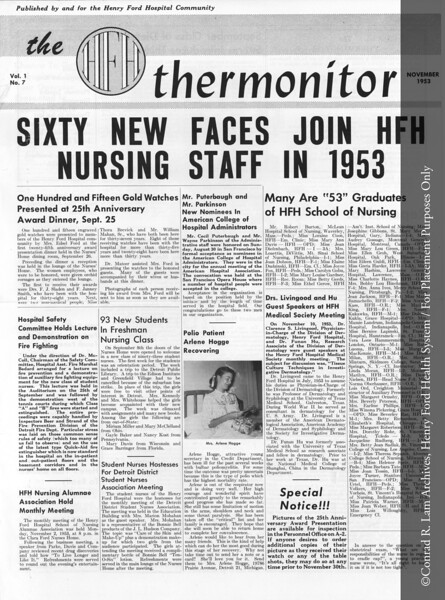 An issue of the hospital newsletter, 'Thermonitor', 1953. From the Conrad R. Lam Collection, Henry Ford Health System. ID=05-047