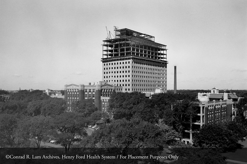 Construction of the Henry Ford Hospital Clinic Building, 1953. From the Conrad R. Lam Collection, Henry Ford Health System. ID=05-004