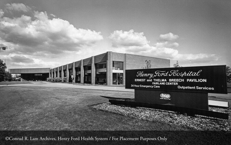 The HFH Ernest and Thelma Breech Pavilion at the Fairlane Center, 1981. From the Conrad R. Lam Collection, Henry Ford Health System. ID=06-014
