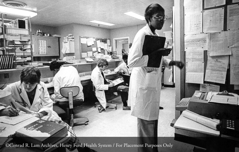 The emergency department at the Fairlane Medical Center, c.1980. From the Conrad R. Lam Collection, Henry Ford Health System. ID=06-015