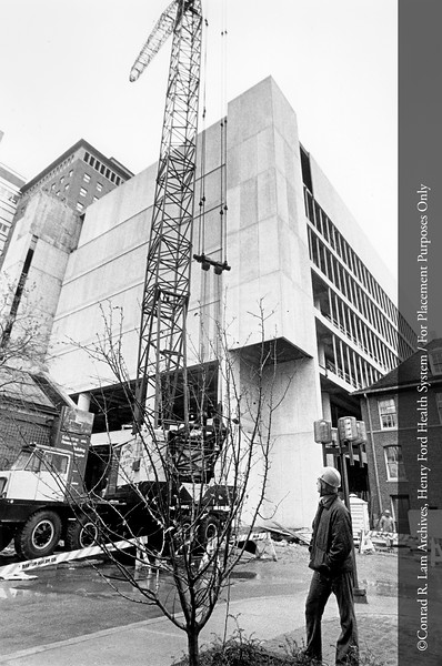 Construction of the Benson Ford Research and Education Building, c.1975. From the Conrad R. Lam Collection, Henry Ford Health System. ID=07-016