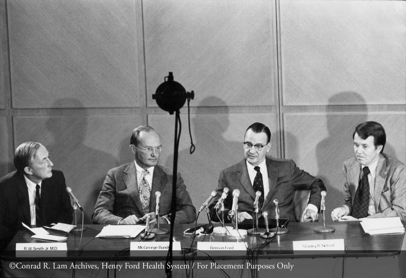Dr. Richmond Smith, McGeorge Bundy, Benson Ford and Stanley R. Nelson at the press conference for the Ford Foundation grant, October 22, 1973. From the Conrad R. Lam Collection, Henry Ford Health System. ID=06-011 (Credit: David Welsh, Romulus, Michigan)