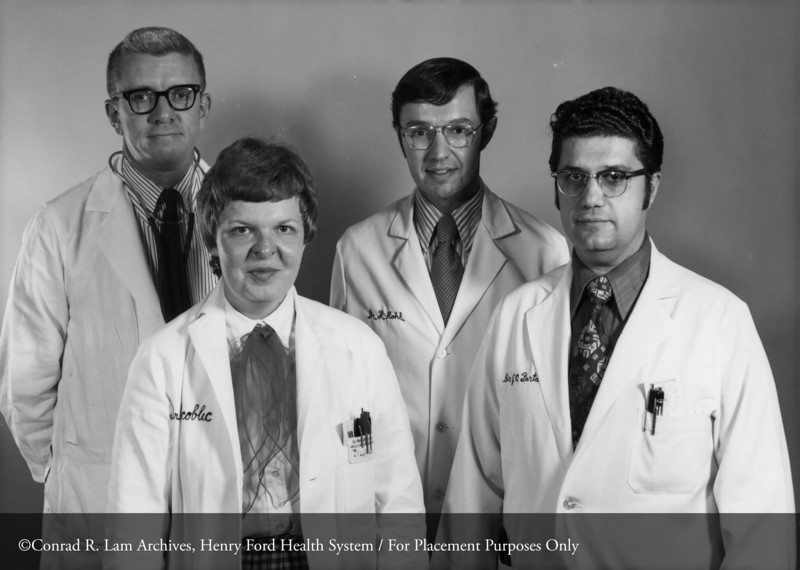 Drs. Fred Whitehouse, Helen Scoblic, Richard Hohl, and Jean Partamian, November 1974. From the Conrad R. Lam Collection, Henry Ford Health System. ID=08-039