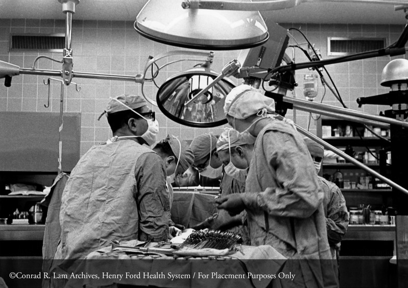 Dr. D. Emerick Szilagyi in surgery, c.1960. From the Conrad R. Lam Collection, Henry Ford Health System. ID=08-001