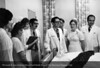 Dr. Nathan Levin on Grand Rounds with Joan Spilis, R.N., Judy Moses, R.N., Patricia Rykaczewski, Dietician, Dr. Jose Galvez and Dr. James Williams, 1972. From the Conrad R. Lam Collection, Henry Ford Health System. ID=08-026