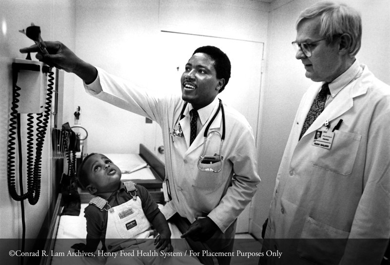 Dr. Hugh F. Walker of the Department of Pediatrics, c.1983. From the Conrad R. Lam Collection, Henry Ford Health System. ID=08-019