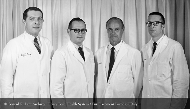 Drs. David Carey, unidentified, Jack Guyton & Cornelius McCole, c.1960. From the Conrad R. Lam Collection, Henry Ford Health System. ID=08-044