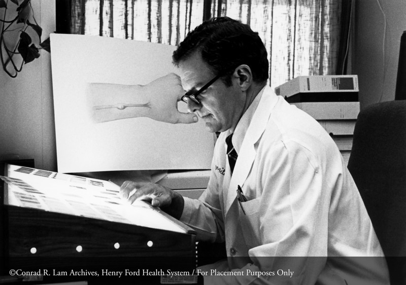 Dr. Donald Ditmars of the Department of Plastic Surgery, 1977. From the Conrad R. Lam Collection, Henry Ford Health System. ID=08-005