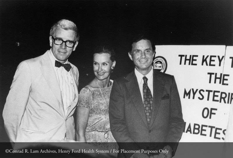 Dr. Fred Whitehouse with Dina Merrill and Cliff Robertson, August 1978. From the Conrad R. Lam Collection, Henry Ford Health System. ID=08-040