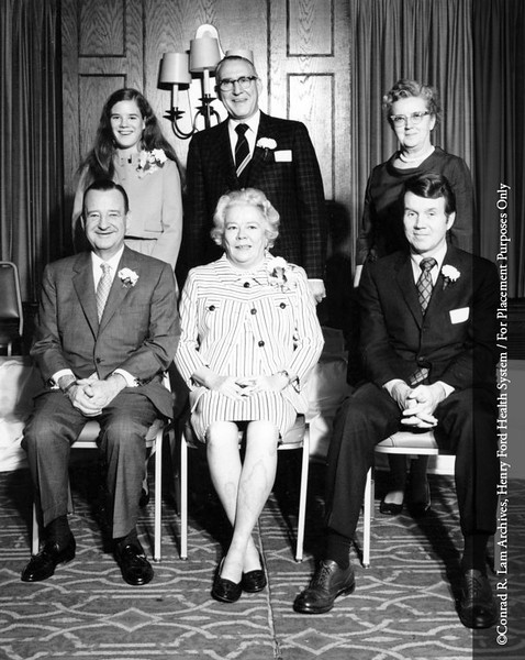 Benson Ford, Edith McNaughton Ford, Stanley R. Nelson and Lynn Alandt Ford and HFH Service Award recipients, c.1970. From the Conrad R. Lam Collection, Henry Ford Health System. ID=08-029