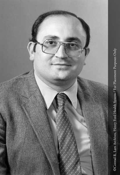 Dr. Farouck Obeid of the Department of Surgery, c.1991. From the Conrad R. Lam Collection, Henry Ford Health System. ID=08-012