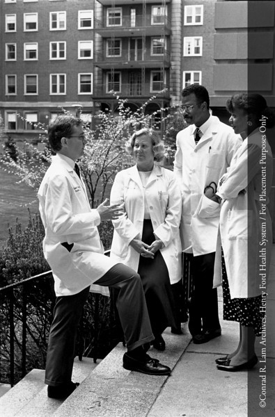 Drs. Daniel Reddy, Dorothy Kakonen, Raymond Littleton and Thelma Jann Caison-Sorey, c.1990. From the Conrad R. Lam Collection, Henry Ford Health System. ID=08-013