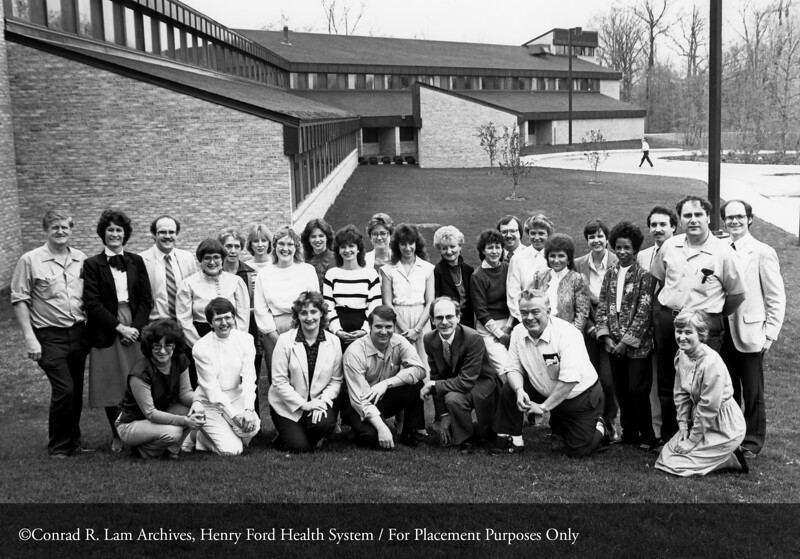 The staff of the Maplegrove Treatment Center, c.1985. From the Conrad R. Lam Collection, Henry Ford Health System. ID=09-007