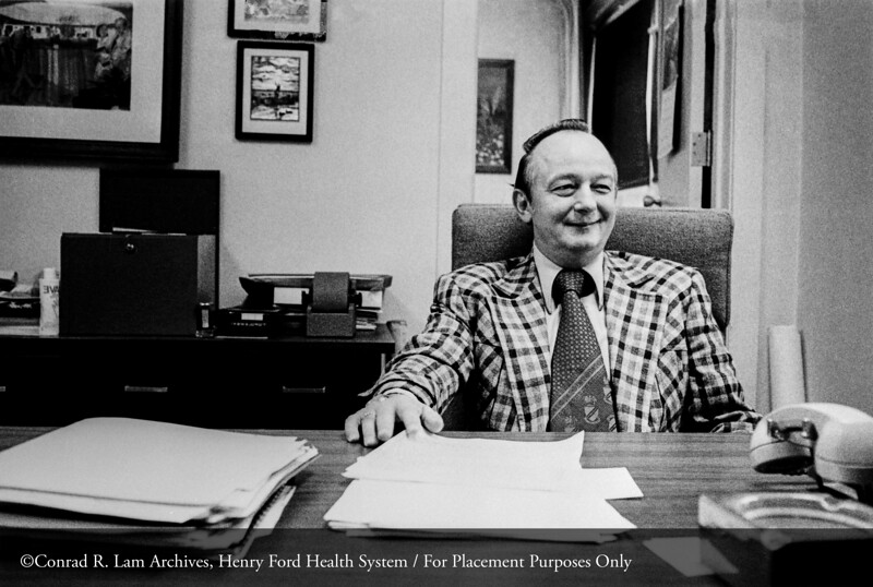 Richard Krolicki of the Department of Facilities, c.1975. From the Conrad R. Lam Collection, Henry Ford Health System. ID=09-029 (Credit: Richard Hirneisen, Royal Oak, Michigan)