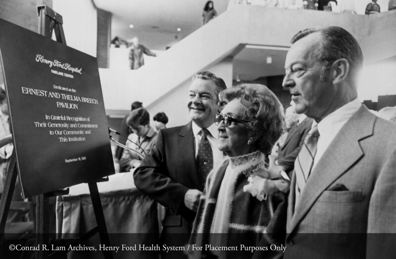 Thelma Breech and her sons, Robert and William Breech at the dedication of the Breech Pavilion at the Fairlane Medical Center, 1981. From the Conrad R. Lam Collection, Henry Ford Health System. ID=09-038