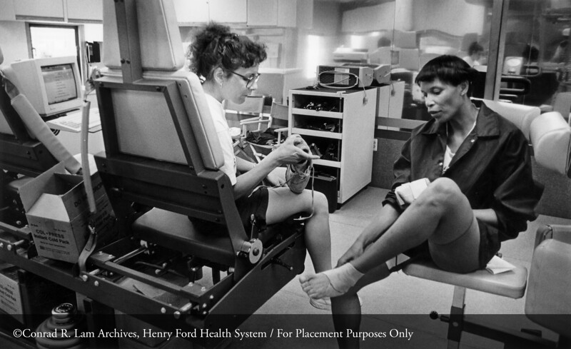 Physical therapy at the early Center for Athletic Medicine in the Clara Ford Pavilion, c.1980. From the Conrad R. Lam Collection, Henry Ford Health System. ID=09-003