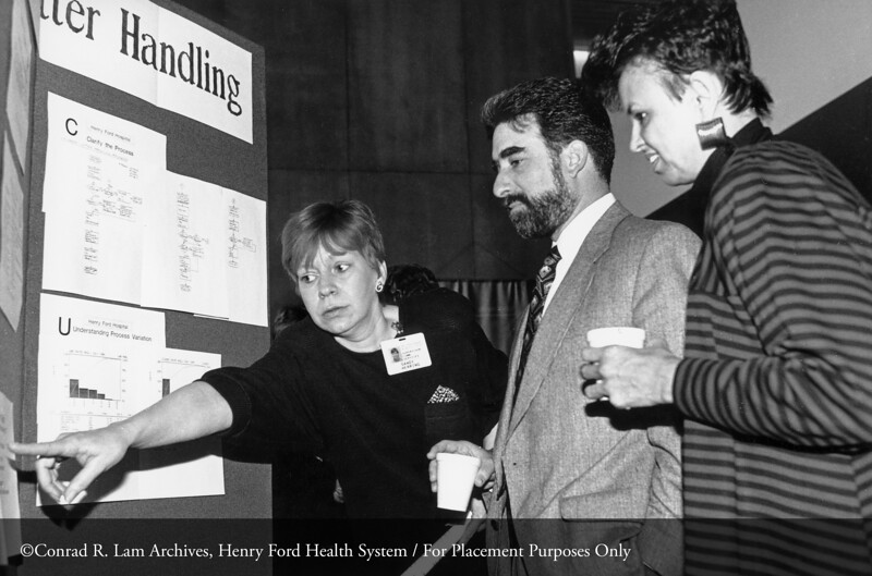 Sandra Dorsey, Sandy Herring and Steve Velick at the Quality Day Expo, 1990. From the Conrad R. Lam Collection, Henry Ford Health System. ID=09-024