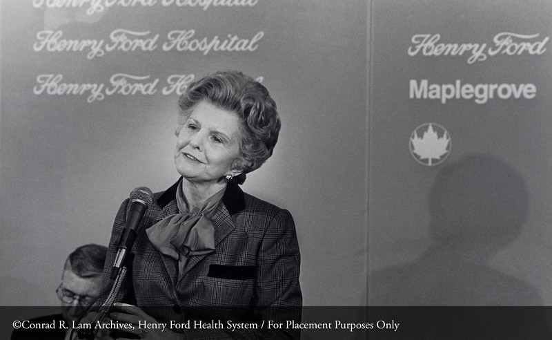 First Lady Betty Ford at the dedication of the Maplegrove Treatment Center, February 1981. From the Conrad R. Lam Collection, Henry Ford Health System. ID=09-006