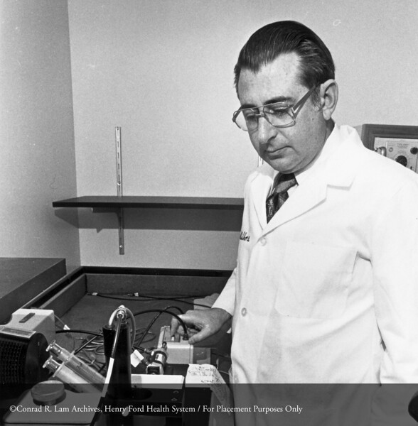 Dr. Joseph Shore, Director of Research, c.1982. From the Conrad R. Lam Collection, Henry Ford Health System. ID=09-040