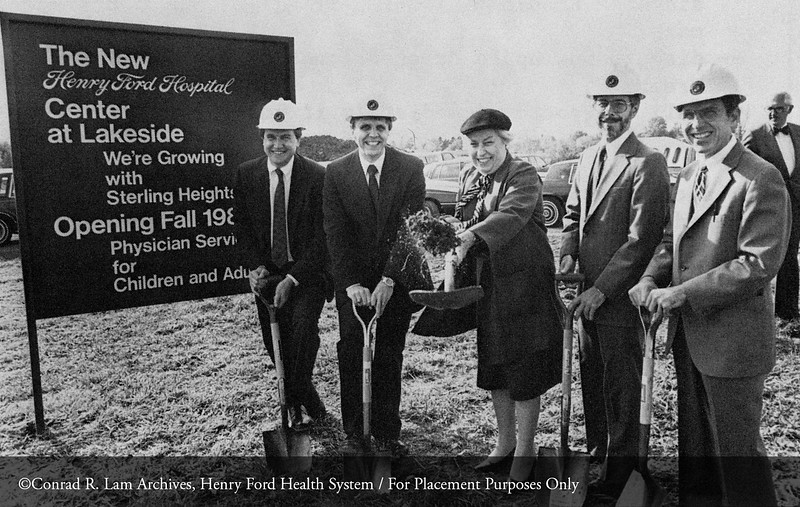The Lakeside Medical Center groundbreaking with Mike Proach, Mike Slubowski, Lt. Governor Martha Griffiths, Jan Radke, M.D. and Bruce Steinhauer, M.D., October 5, 1984. From the Conrad R. Lam Collection, Henry Ford Health System. ID=09-023