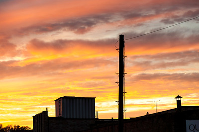 Dramatic clouds over Hackney Wick at sunset, London, United Kingdom