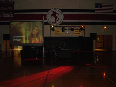 2 15's and horns 2 double 18's for bass huge video screen 7.5' x 10' rear projection 10 foot lighting truss 4 intelligent lights 1 smoke machine 1 killer laser this is one bad sound and light show oh, and 10,000 watts of sound,,,,yeah it was loud