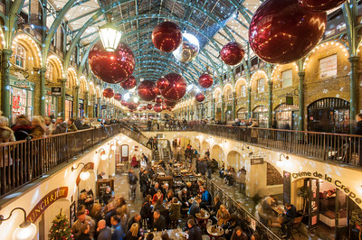 Covent Garden at night before Christmas, London, United Kingdom