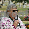 Katie Finlon for Shaw Media<br /> Sycamore History Museum secretary Jayne Higgins addresses the crowd of more than 50 people before the annual Etched in Stone Elmwood Cemetery Heritage Walk begins at the cemetery, 901 S Cross St.