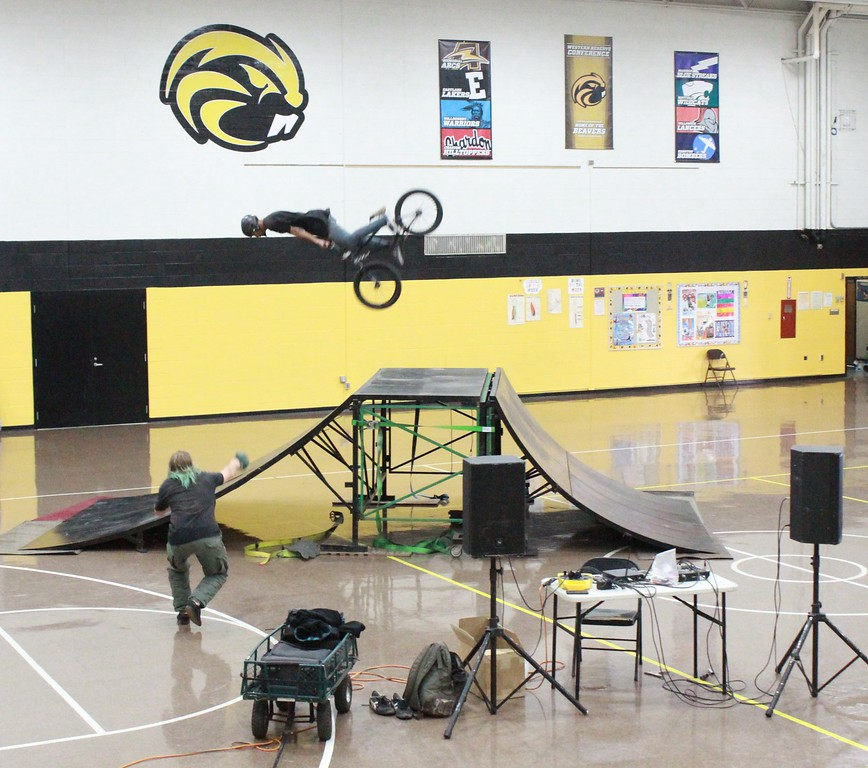 . Tawana Roberts � The News-Herald <br> Thriller BMX Team from Cleveland put on a high-energy and awe-inspiring show on Oct. 3 at LaMuth Middle School in Concord Township.