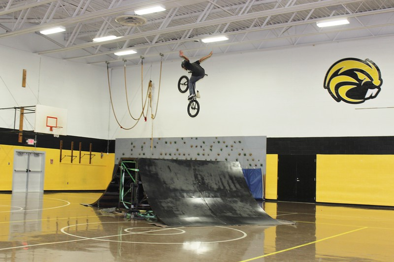 Tawana Roberts — The News-Herald <br> Thriller BMX Team from Cleveland put on a high-energy and awe-inspiring show on Oct. 3 at LaMuth Middle School in Concord Township.