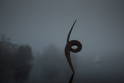 Foggy morning in Victoria Park, Hackney, London, United Kingdom