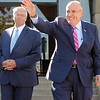 Kristi Garabrandt — The News-Herald <br> Former New York City Mayor Rudy Giuliani waves to a crowd of Trump supporters waiting to hear him speak in Willoughby.