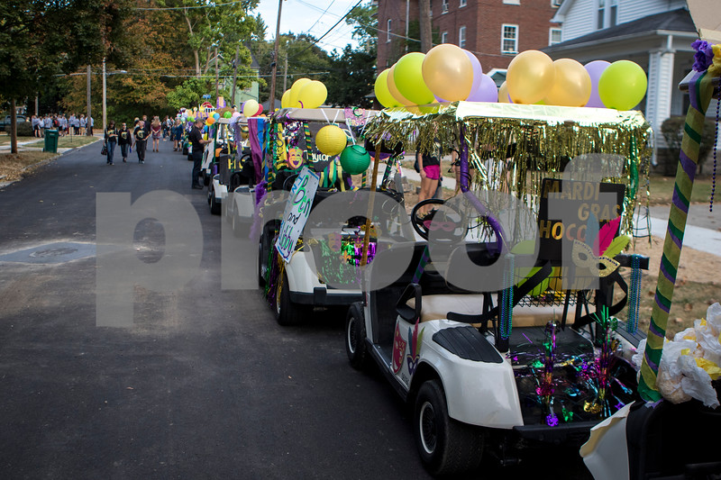Sam Buckner for Shaw Media.<br /> Golf carts all lined up and ready to go before the parade on Wednesday September 4, 2017.