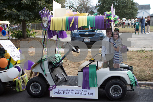 Sam Buckner for Shaw Media.<br /> Joslin Peck and Matthew Ray's golf cart is decorated and ready to go before the parade on Wednesday October 4, 2017.