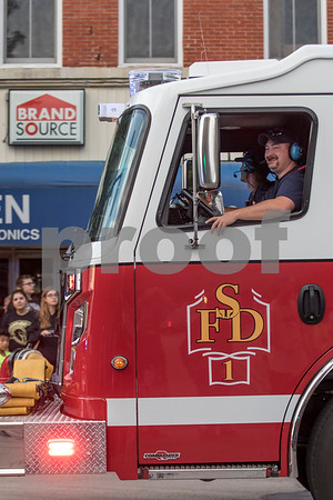 Sam Buckner for Shaw Media.<br /> Members of the Sycamore Fire Department let everyone know the parade is starting by turning on its siren on Wednesday October 4, 2017.