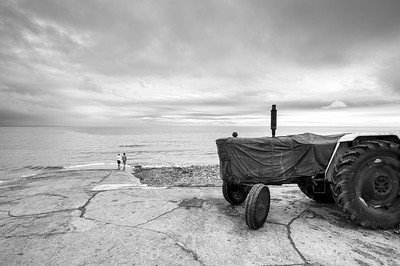 Tractor by the beach, Saltburn by the Sea, North Yorkshire, United Kingdom