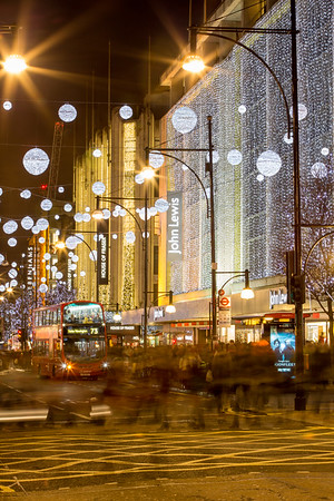 Oxford Street in the evening Christmas Season, London, United Kingdom