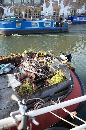 Houseboat on River Lee Navigation, Hackney Wick, London, United Kingdom