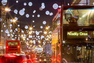 Oxford Street in the evening Christmas Season, London, United Kingdom