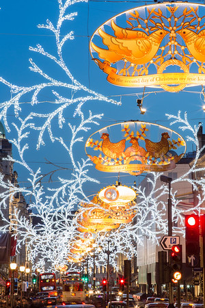 Regent Street decorated for Christmas season, London, United Kingdom