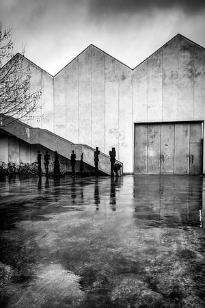 Back door to warehouse off York Road, London, UK