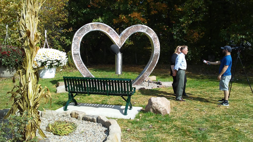 . Betsy Scott � The News-Herald <br> Chardon Living Memorial Park was dedicated Oct. 7. The park is at 220 Basquin Drive. This sculpture was created for the park by local artist Matthew Albright.