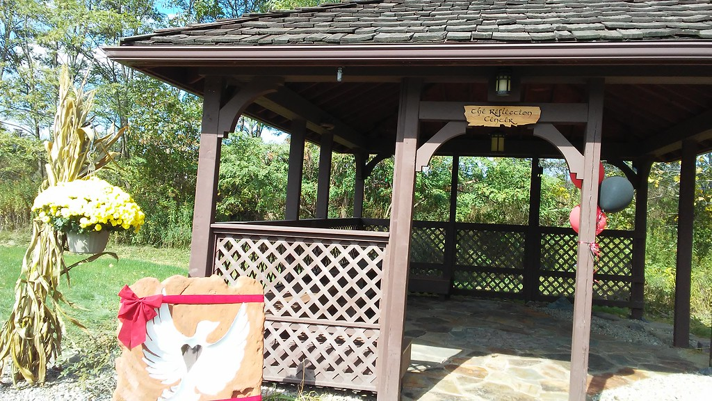 . Betsy Scott � The News-Herald <br> This gazebo behind Chardon High School was repurposed for a Reflection Center at Chardon Living Memorial Park, 220 Basquin Drive.
